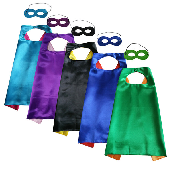 top popular halloween cosplay cape with mask double layer superhero cape 70cm * 70cm wholesale satin kids favor cosplay clothing 2021
