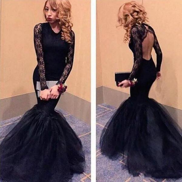 Pretty Little Black Lace Mermaid abito da sera 2019 Sexy aperto indietro Prom Dress formale con maniche lunghe abiti da festa Vestido