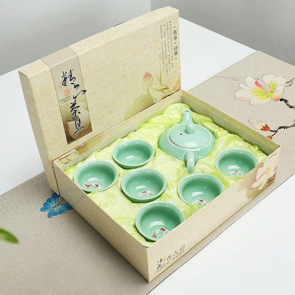 Großhandel China Kung Fu Tee Set 7 Stücke Celadon Fisch Tee Kaffeetasse Chinesischen Tee Set Business Corporate Geschenk Geschenk Keramik Mit