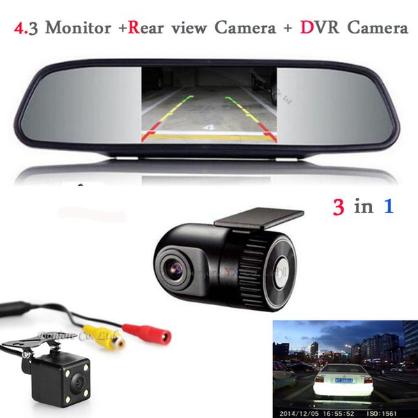 Car Monitor Mirror TFT LCD Display Car DVR Camera Dash Cam Hidden DVR Recorder with Rear view camera with monitor Parking