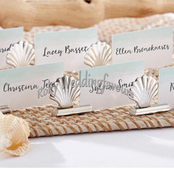 50PCS Silver Seashell Place Card Holder Beach Theme Wedding Favors Anniversary Party Table Decor Birthday Supplies Idea