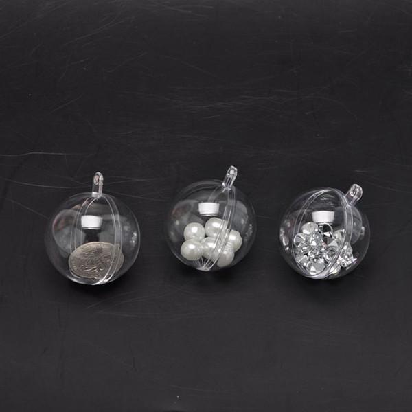 6 cm Transparent En Plastique Transparent Babiole Boîte De Bonbons Cadeau Artisanat De Noël (Noël) De Mariage Arbre De Noël DIY Décor Ball Ornement En Gros