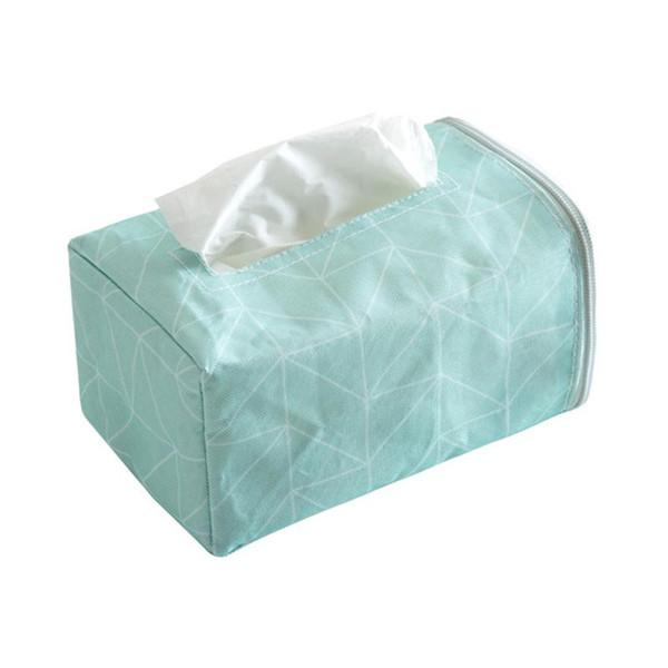 Cloth Facial Tissue Box Cover Geometry Rectangular Napkin Holder Side Zipper Decorative Tissue Holder for Home Car