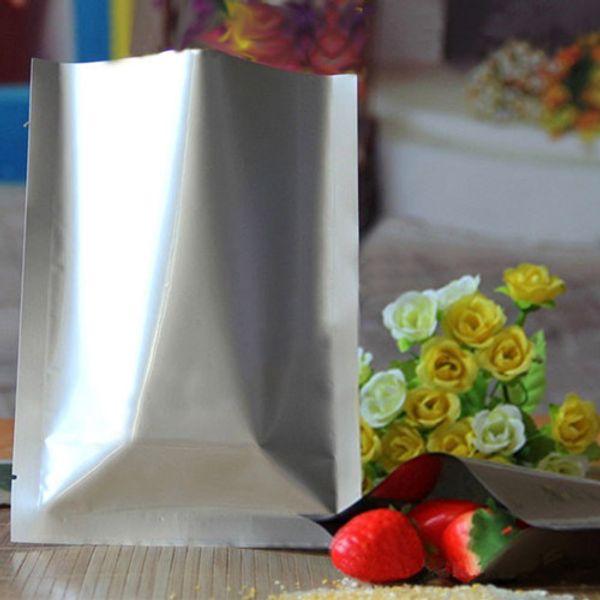 12*18cm 100Pcs/ Lot Pure Silver Aluminum Foil Nut Snack Tea Vacuum Storage Pouch Heat Seal Mylar Mask Coffee Powder Package Bags