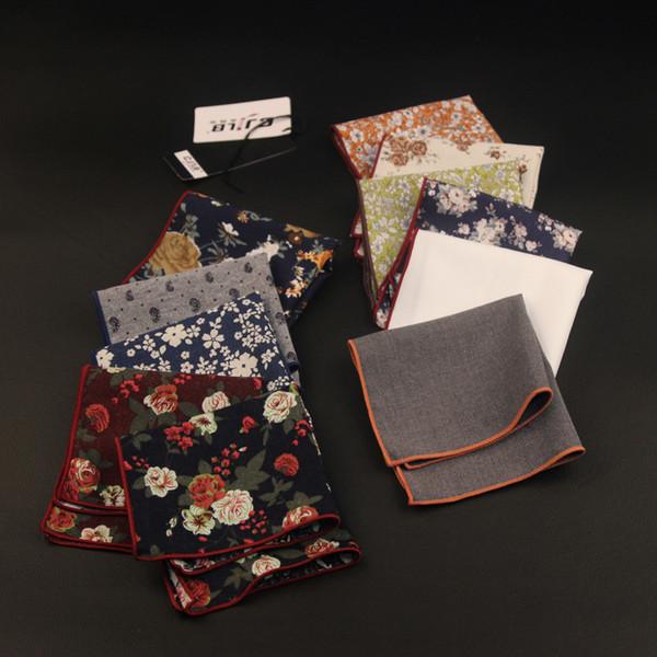 New Korean Fashion Designer High Quality Mens Pocket Squares Handkerchiefs Print Floral Cotton 24x24cm 10pcs /Lot