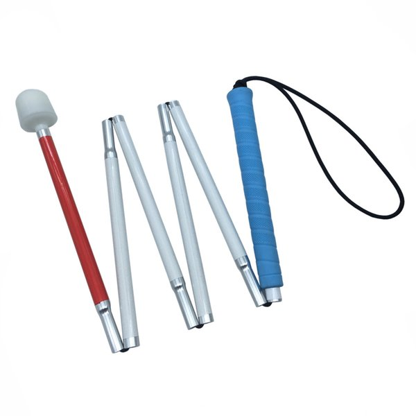 Blue Handle, 6 sections White Cane, 125cm-155cm, Aluminum mobility folding Cane for the blind