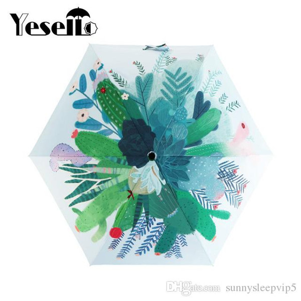 100% autentico buscar genuino precio bajo Compre Yesello Lindo Cactus Diseño Original Mujeres Paraguas Pintura Al  Óleo 3 Parasol Plegable Señora Portátil A $27.42 Del Latex2010 | DHgate.Com
