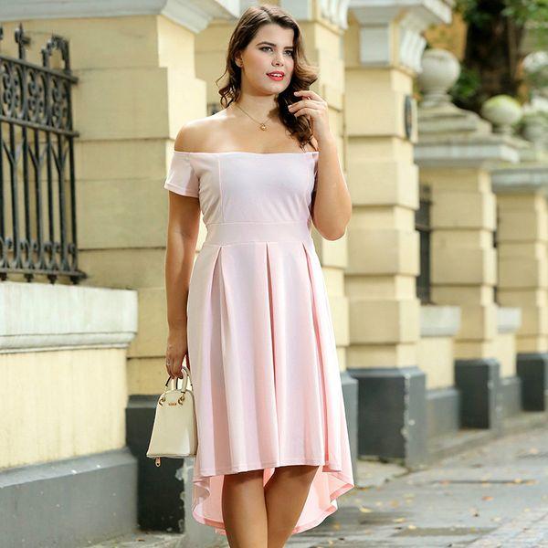 Plus Size Party Dress for Women Pink Black Off Shoulder Short Sleeve Empire Hi-Lo Irregular Evening Dress for Ladies Large Evening Gown