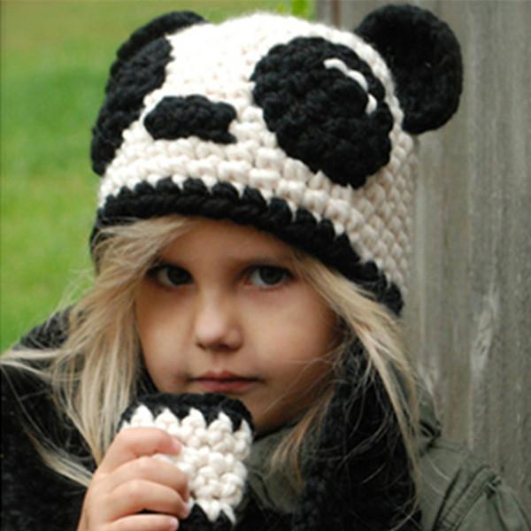 Дети Cap шарф комплект шерсти трикотажные шапки шарф кольцо Панда шляпа для  Дети осень зима c7c3b5f75f8e0