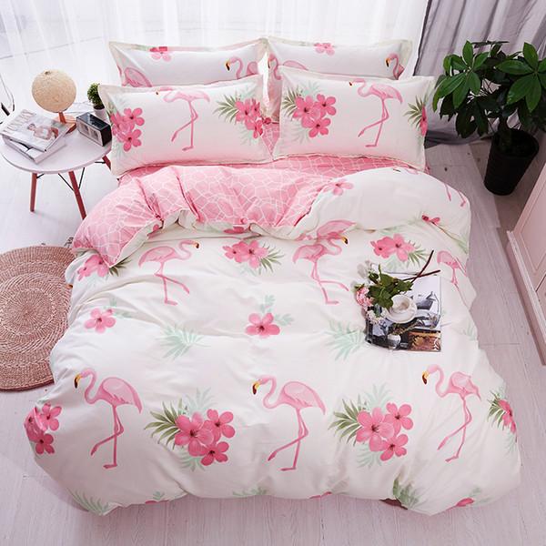 HOT Sale Fashion Luxury pink flamingos Cartoon Printing Double king queen Paern Bedding sets Duvet cover Flat sheet Pillowcase