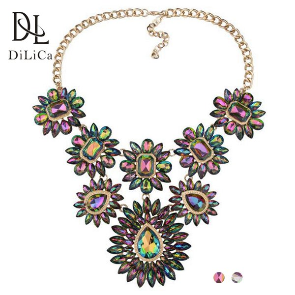 DiLiCa Hot Trendy Flower Statement Choker Necklace Women Crystal Charms Chokers Bib Necklace Costume Jewelry Necklaces&Pendants
