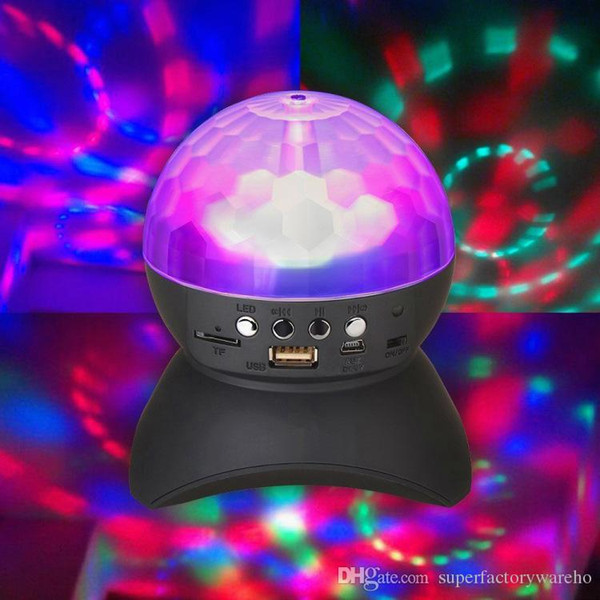 DJ Party Bluetooth Speaker Built-In Light Show Stage Effect Lighting RGB Color Changing LED Crystal Ball Support TF AUX FM