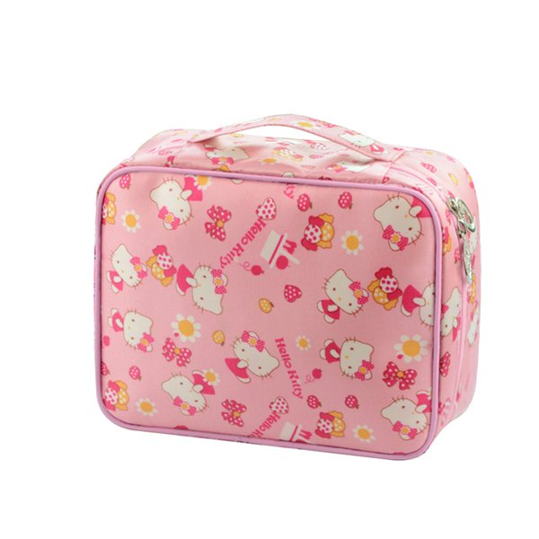Cute Hello Kitty Ladies Cosmetic Bags Waterproof Cases Women Beautiful Makeup Toiletry Girls portable Travel Pouch Organizer
