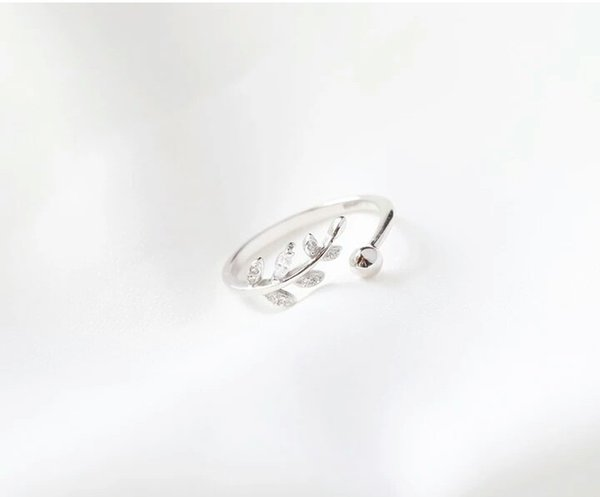 New Arrival Women's 925 Sterling Silver Leaf Ring Diamond Ring of Fashion Personality Index Fanger Fresh Simple Thin