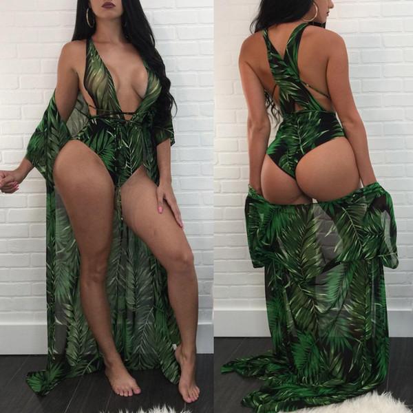 Green Color 2018 Women Fashion Selva Pattern Print Jumpsuit Cloak+Sexy Rompers Bodysuits Jumpsuits Lace Up Brazil Beach Bikinis 2PCS Suits