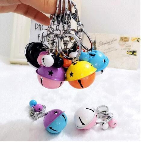 hot sale Korean creative metal candy color bell key holder female handmade DIY phone shell accessories couple bag pendant