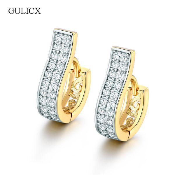hoop earrings GULICX Fashion Piercing Crystal Earing Gold-color Earing White Cubic Zirconia Wedding Jewelry Hoop Earrings E105