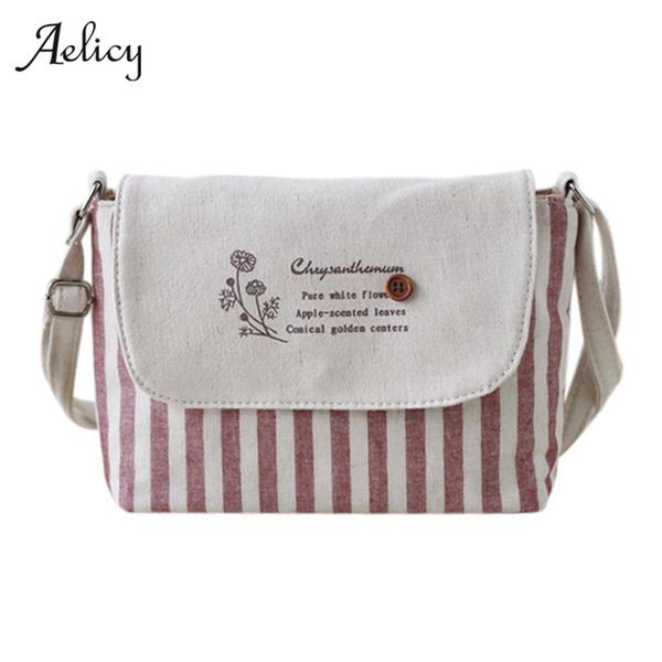 Aelicy 2018 Brands Fashion Women Cotton Fabric Bag Women Fresh Striped Girls Shoulder Bag mini crossbody Bolsa Feminina 0918