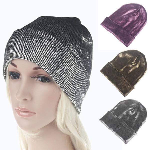 Gorra chica sombrero de moda de invierno mezclado tejido de punto mujer  Skullies Gorros ocio cálido moda señoras gorras nave de la gota 5bc7b3d7c83