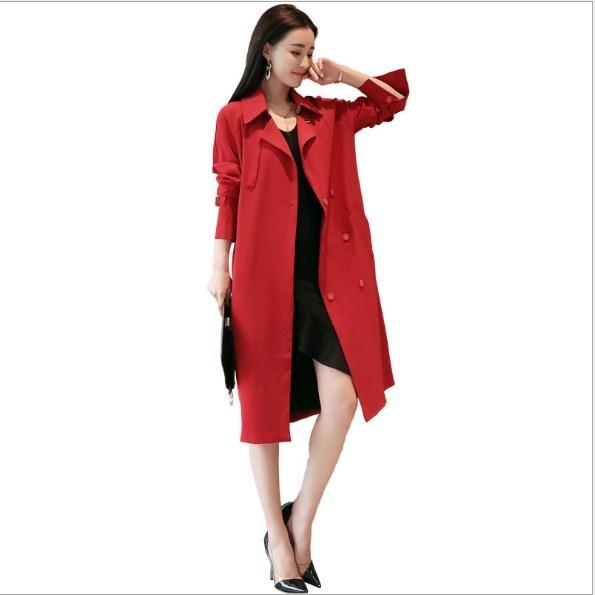 Blazer Collar 2018 Spring Autumn Double Breasted Trench Coat For Women Slim Fit Work Wear Windbreakers Womens Long Trenchcoat with Sashes