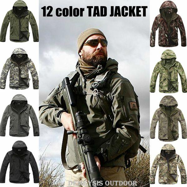T A D Shark Skin Softshell Jacket Men Tactical Jacket Waterproof Windproof Hunting Military Jacket Pants Y1893006