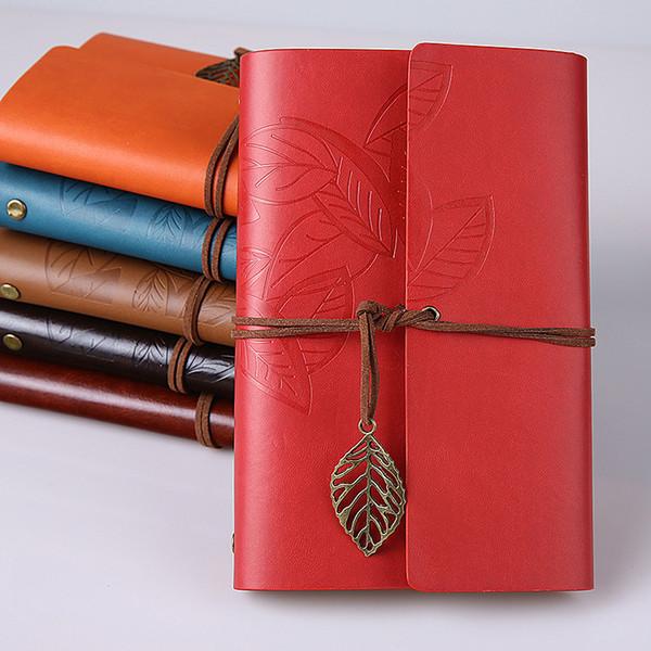 Diseño retro Cuadernos de tapa de cuero Diario personal Diario Agenda Libro de bocetos de papel Kraft Handmade Travel Notebook