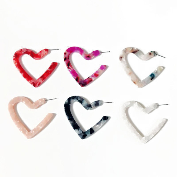 best selling Free Shipping Sweet Cute Heart Design More Colors Resin Simple Stud Earrin, Elegant Jewelry Earring For Women