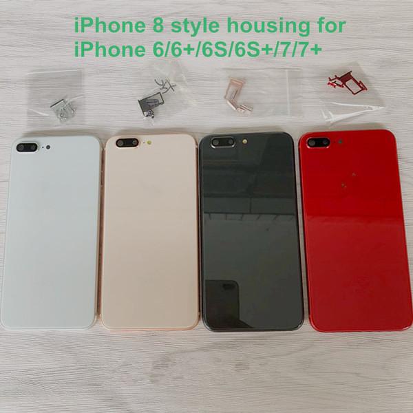 Coque arrière pour iPhone 6, style iPhone 6, 6S 7 Plus, coque en verre métallique, noir / blanc / rouge, noir