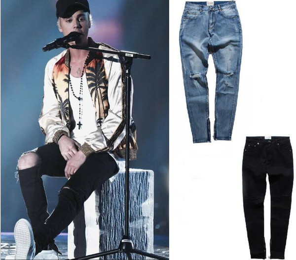 Kanye Justin Bieber pants trousers FOG style black knife cut zipper Slim feet jeans high street S-XXL 325