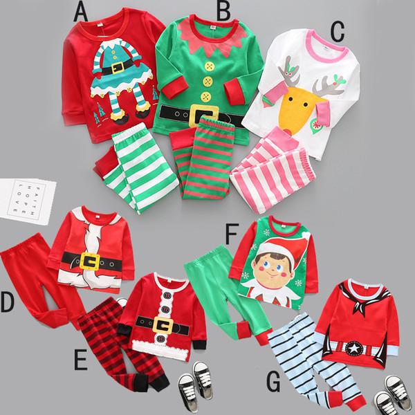 Çocuklar boy Kız Noel Giyim Iki Adet Set Bahar Güz Yuvarlak Yaka Geyik Noel Baba Baskı Gömlek + Pantolon% 100% Pamuk Çocuk Giyim Setleri