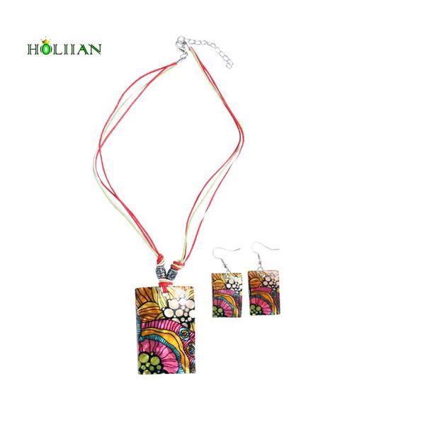 whole saleNatural Shell jewelry sets for women boho flower bouquet earring necklace set bijoux femme wax rope chain boho ethnic Rubi new