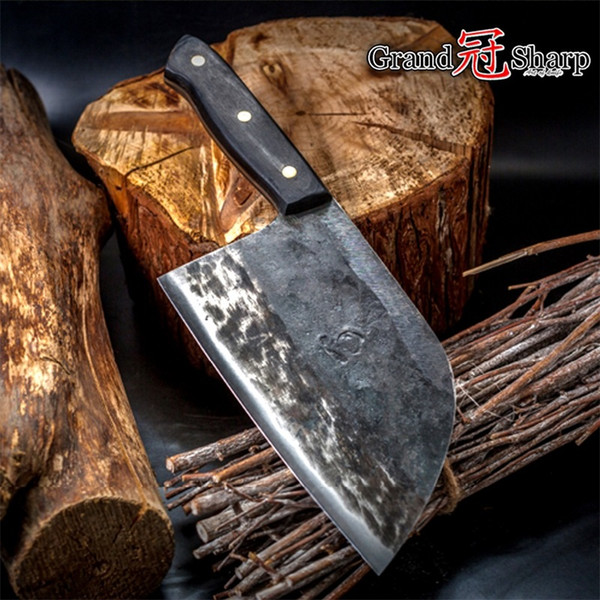 7 Inch Handmade Forged Chef Knife Clad Steel Forged Chinese Cleaver Professional Kitchen Chef Knives