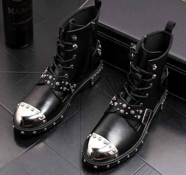 Men's Rivet Martin boots punk short boots High Quality Fashion Men High Top shoes Motorcycle Cowboy boots