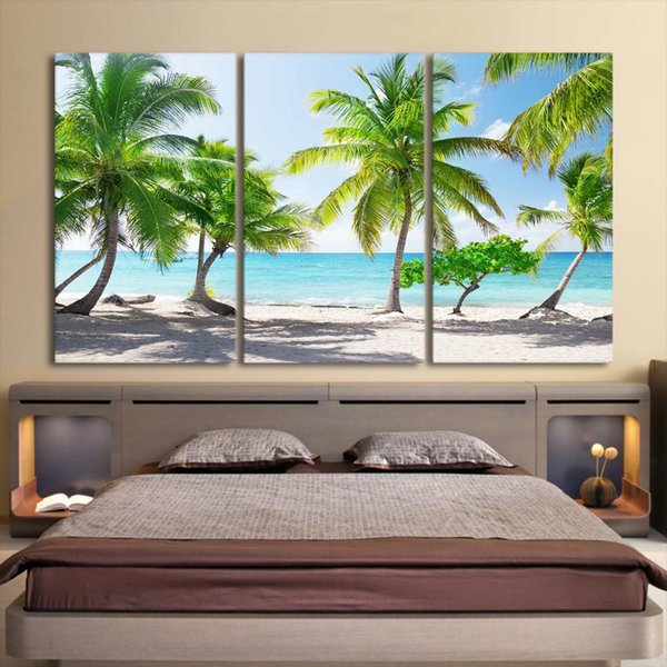 HD Prints Pictures 3 Pieces Santa Catalinna Island Beach Coconut Trees Painting Wall Art Room Framework Canvas Poster Home Decor