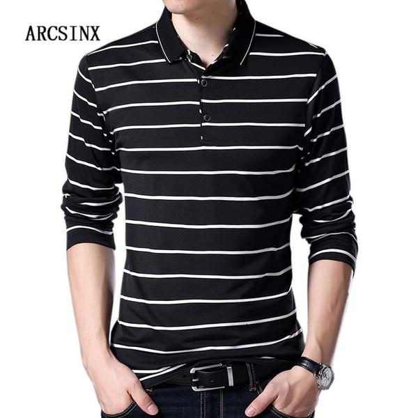 ARCSINX Camisa a rayas para hombre Camisa de manga larga para hombre Primavera Otoño Invierno Manga larga para hombre s Slim Fit Black Tees