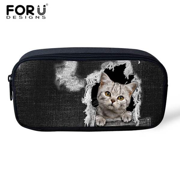 FORUDESIGNS Black Denim Cats Dogs Make Up Bags Cosmetic Case Professional Pencil Bag Kids Women Toiletry Travel Kits Storage Bag