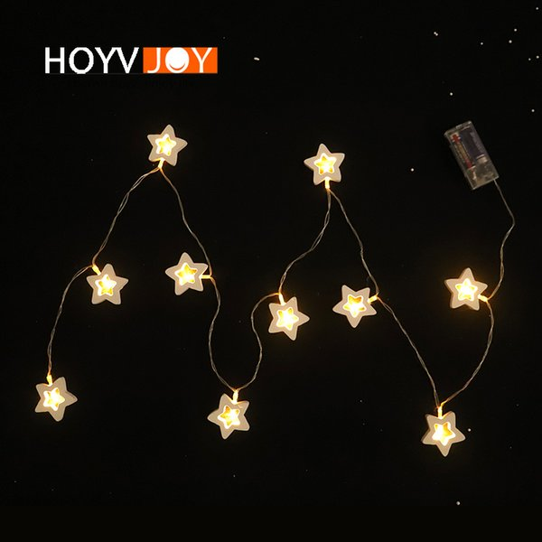 HOVYJOY Christmas Decorations for Home Party Wooden Star LED Light 200cm Length Holiday Home Supplies