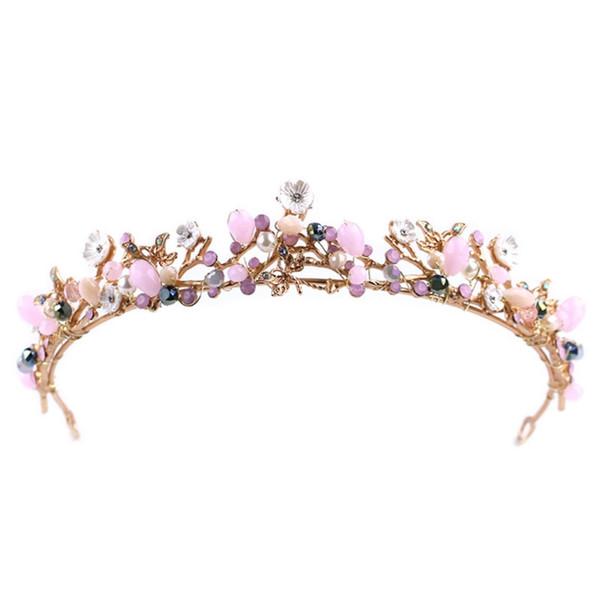 JAVRICK Romantic Bride Crown Colorful Headwear Women Jewelry Wedding Princess Accessori per capelli Ornamenti Tiara nuziale Gioielli