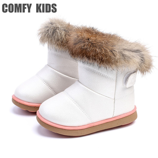 FUN.S Kids Winter Boots Warm Snow Boots Waterproof Leather Boots Girls Slip on Boots