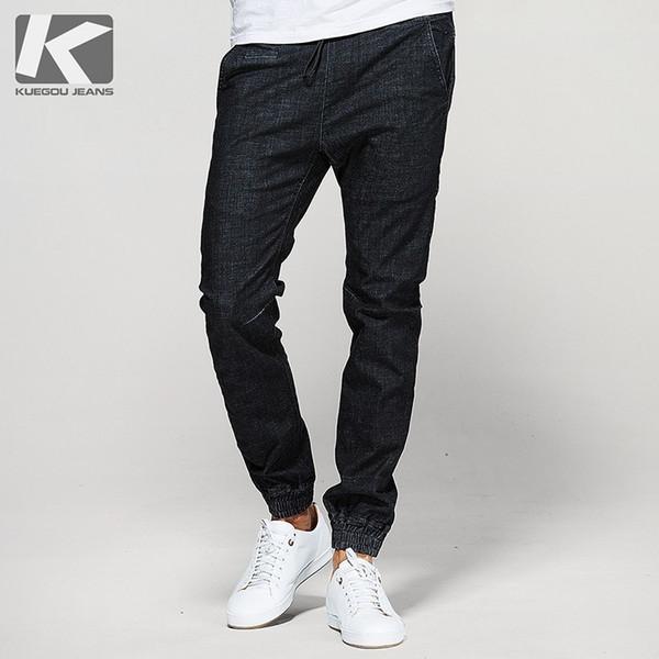 Autumn Men Jeans Cotton Black Pocket Elastic Waist For Man Fashion Slim Fit Denim Harem Pants 2018 Male Wear Long Trousers 1097