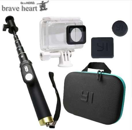 Custodia impermeabile cuore coraggioso + borsa fotografica + monopiede estensibile per selfie per xiaomi yi 4K 2 II Xiaoyi action Camera accessori