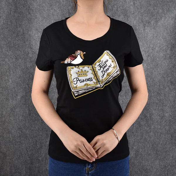 Women's Tee Free Shipping Women Book And Bird Pattern Tops Short Sleeve Cotton T Shirt Women Harajuku T Shirt Plus Size Women Tees Clothing