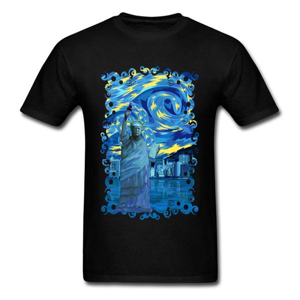 Vintage Cheaper T Shirts Men Blue Victory Leader Starry Night Painting T-shirts Men's New Trendy Summer Tshirt Big Size 3xl