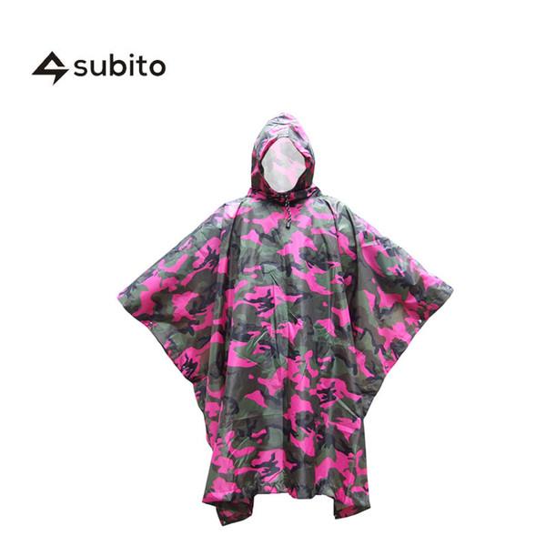 SUBITO Outdoor Rainwear Raincoat Waterproof Poncho Unisex Survival Waterproof Rain Poncho Shelter Tent Camouflage Rain
