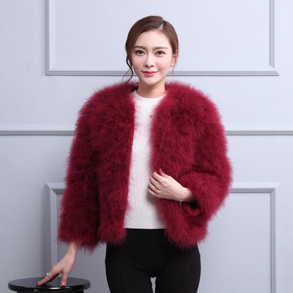10 Colors 2018 Autumn Winter Women Real Ostrich Feather Fur Coats Short Real Fur Coat Genuine Ostrich Jackets S-3XL W1435