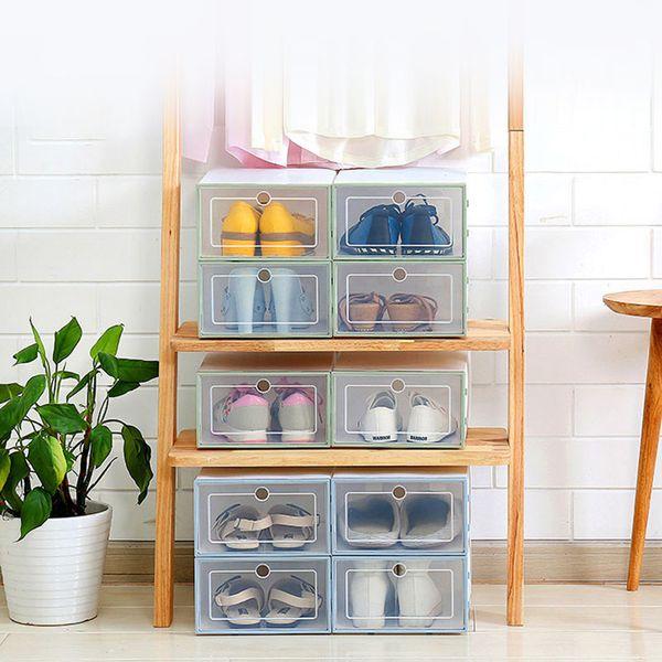 6 pezzi / set Addensare plastica trasparente scarpa scatola scarpe stoccaggio artefatto scarpa scatola di immagazzinaggio organizzatore cassetto addensato