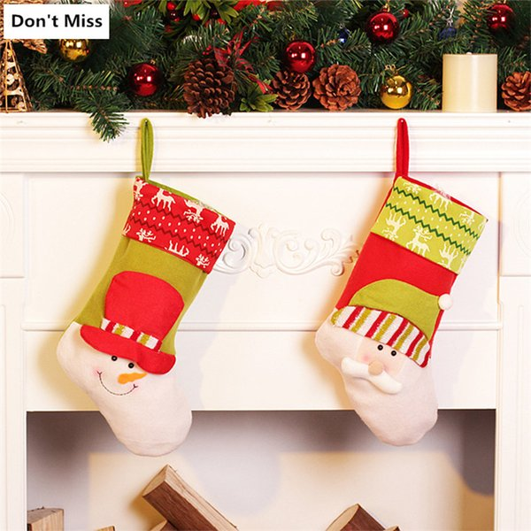 Christmas Stocking Sock Santa Claus Candy Gift Bag Xmas Tree Hanging Decor Christmas Navidad Decorations for Home Dropshipping