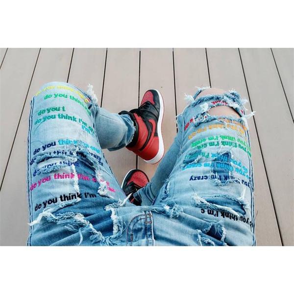 Mens Ripped Jeans Hosen DENKEN SIE IM IM CRAZY Buchstaben Stickerei Jeans Hosen MRDR BRVDO Designer Jeans Limited Edition Hip Hop Euro Größe