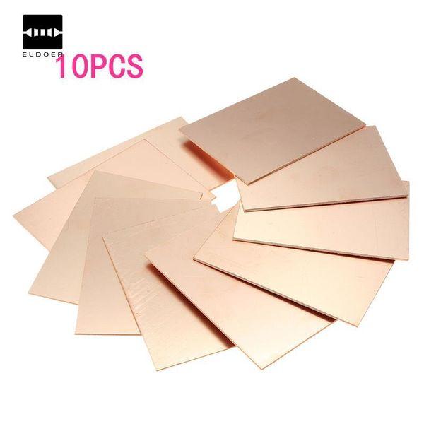 2019 Venta caliente El mejor precio 10 unids / lote FR4 PCB con revestimiento de cobre de un solo lado DIY Kit de PCB Placa de circuito laminado 70x100x1.5mm Envío