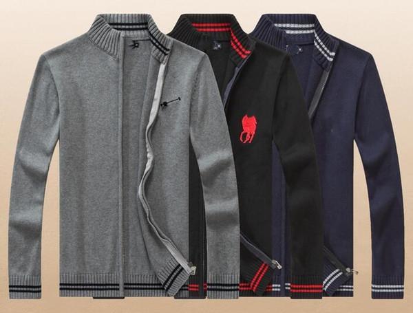 2018 otoño e invierno nuevos hombres collar collar cardigan suéter de manga  larga suéter de los 43728a0611fd